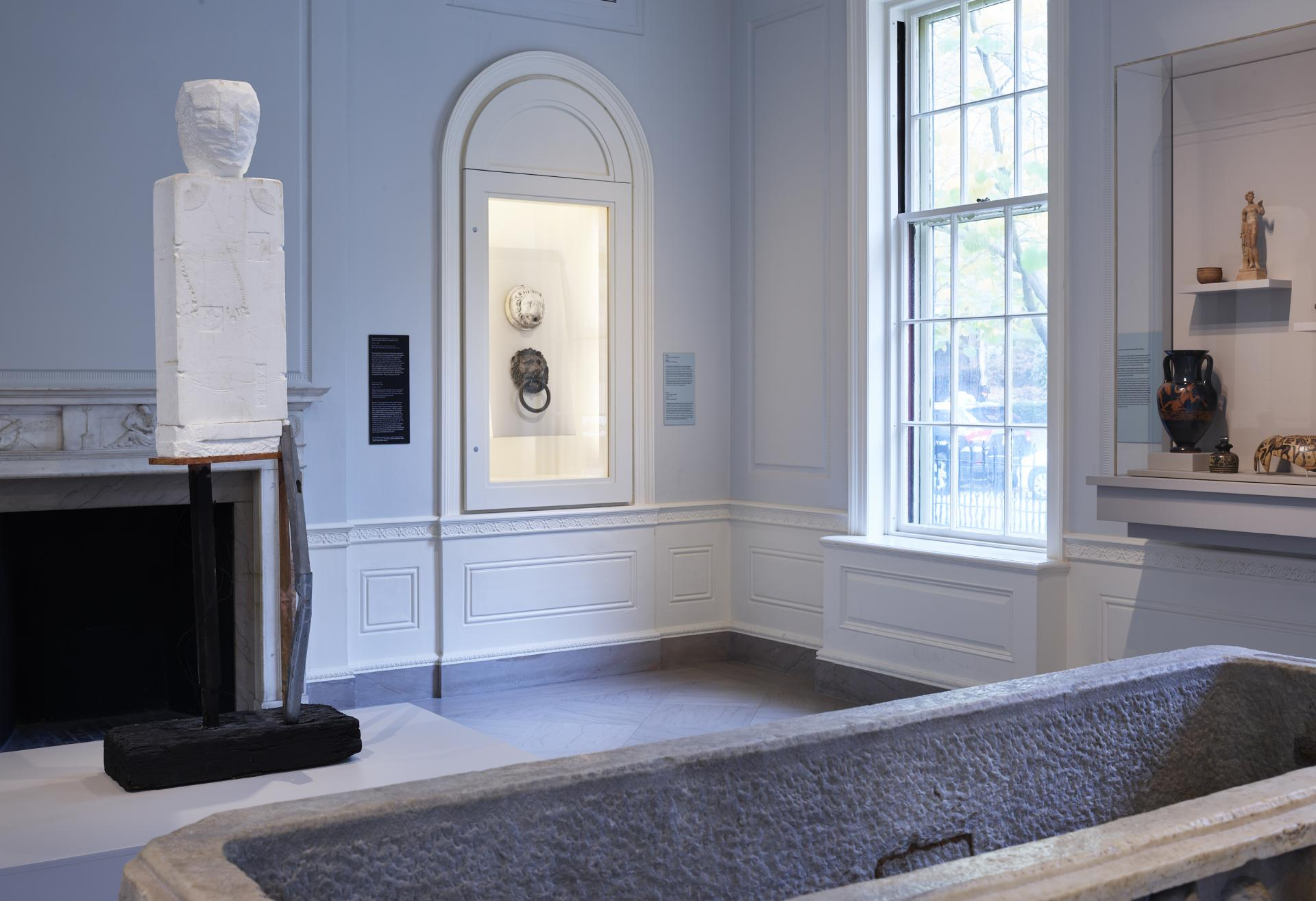 "Installation shot of Huma Bhabha ""Ghost"" sculpture on view in the Greek and Roman gallery"