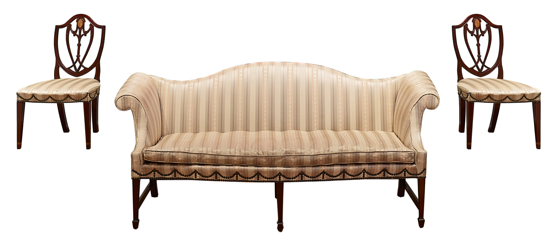 two wooden side chairs with cream upholstered seats, American, ca. 1800 flanking a couch upholstered with the same fabric, also American, ca. 1800