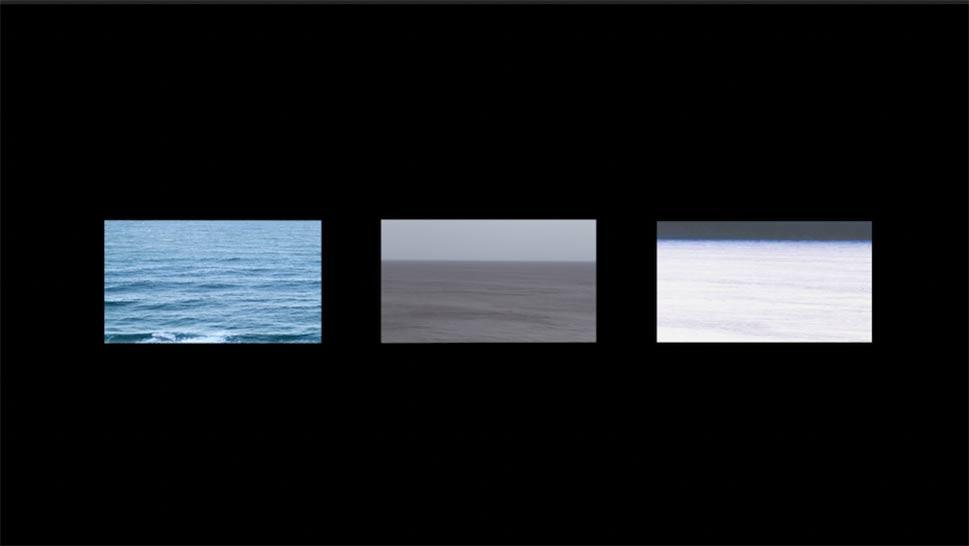 Frame grab of a three-channel video depicting altered views of the ocean filmed at the same location. Differences in the images are to lead the viewer to recognize patterns.