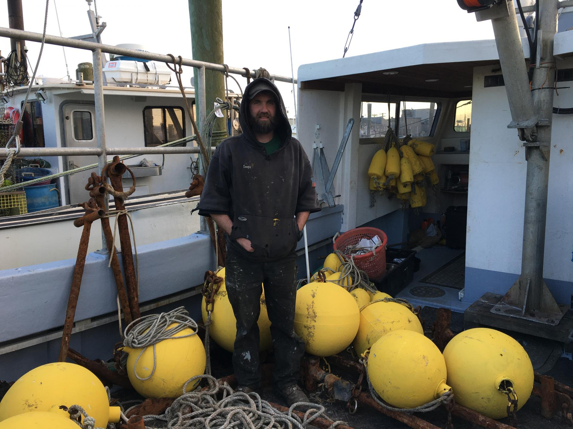 Ian Campbell on his fishing boat with tools which will be installed soon.