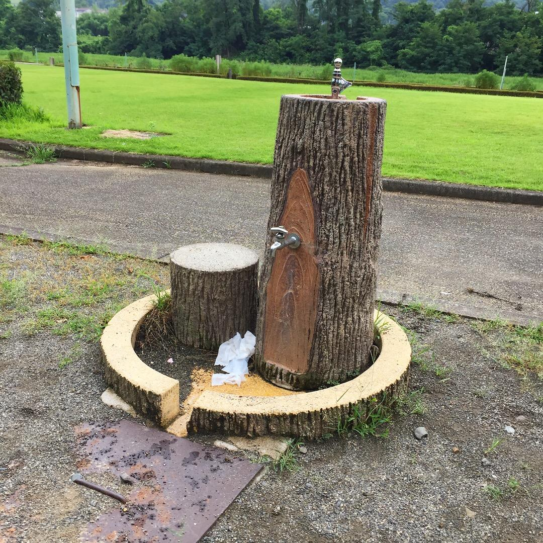 Drinking fountain made to look like a tree stump