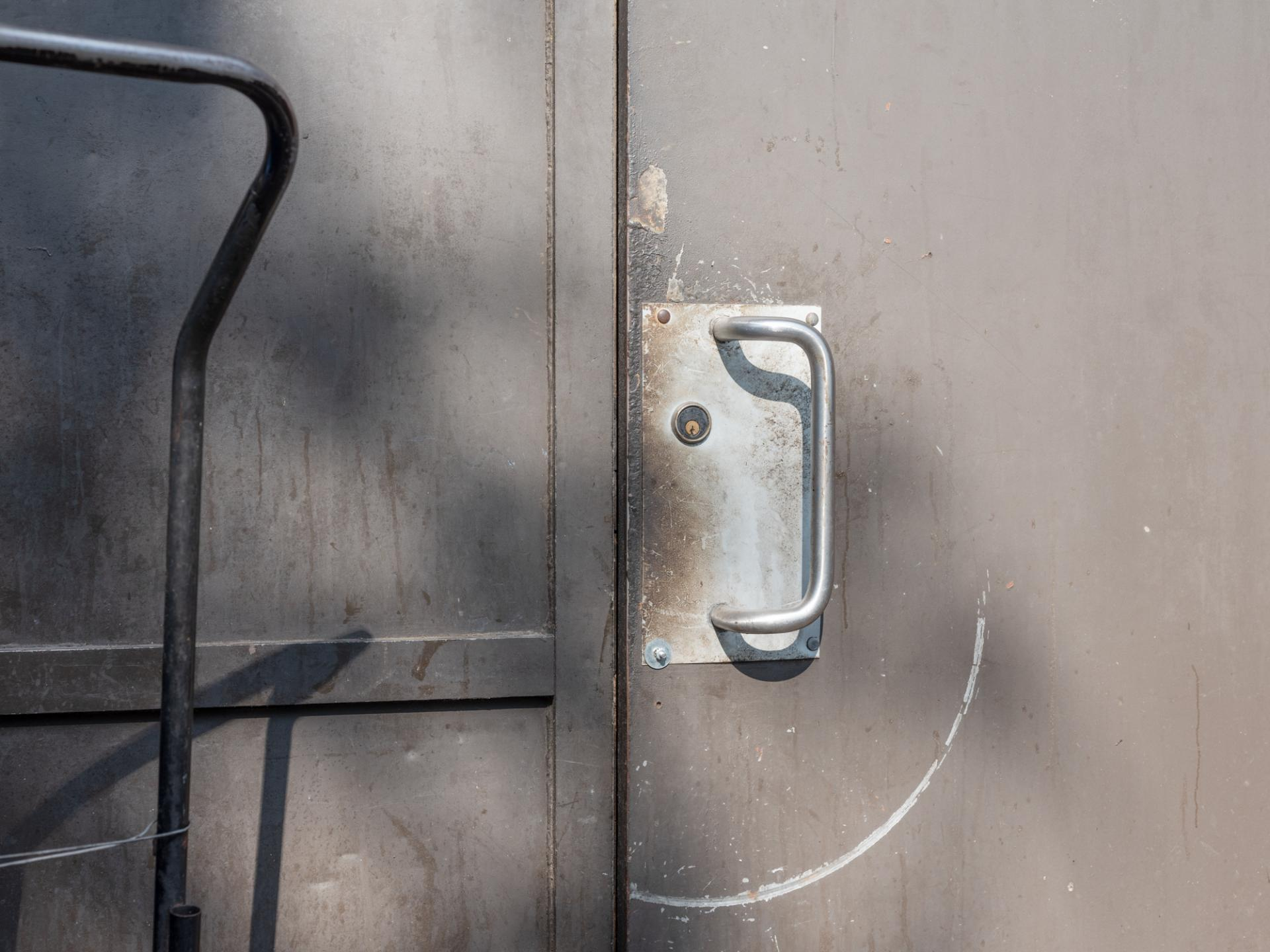 door pull with scratches