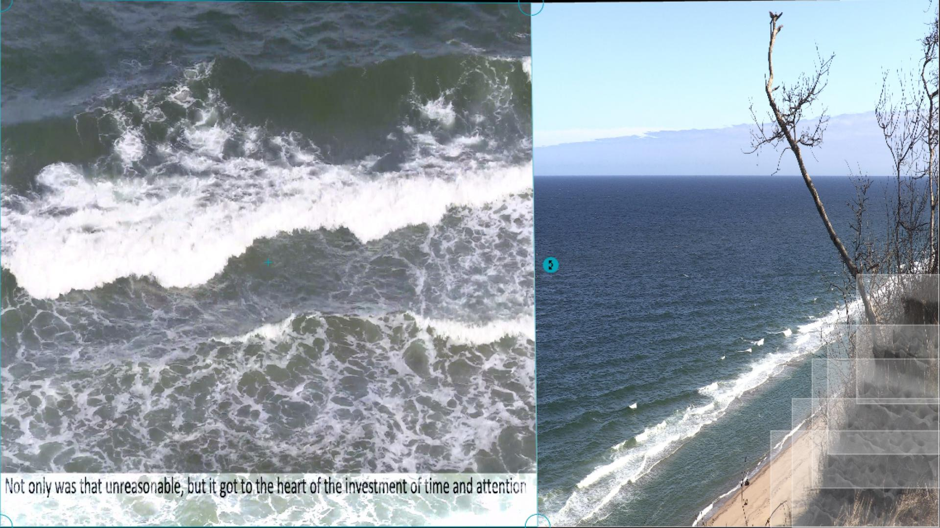 Waves with text in a split screen with a glacial cliff.