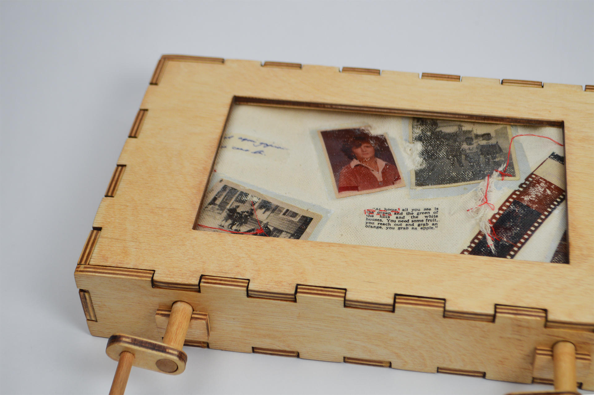 Birch plywood box containing family documents