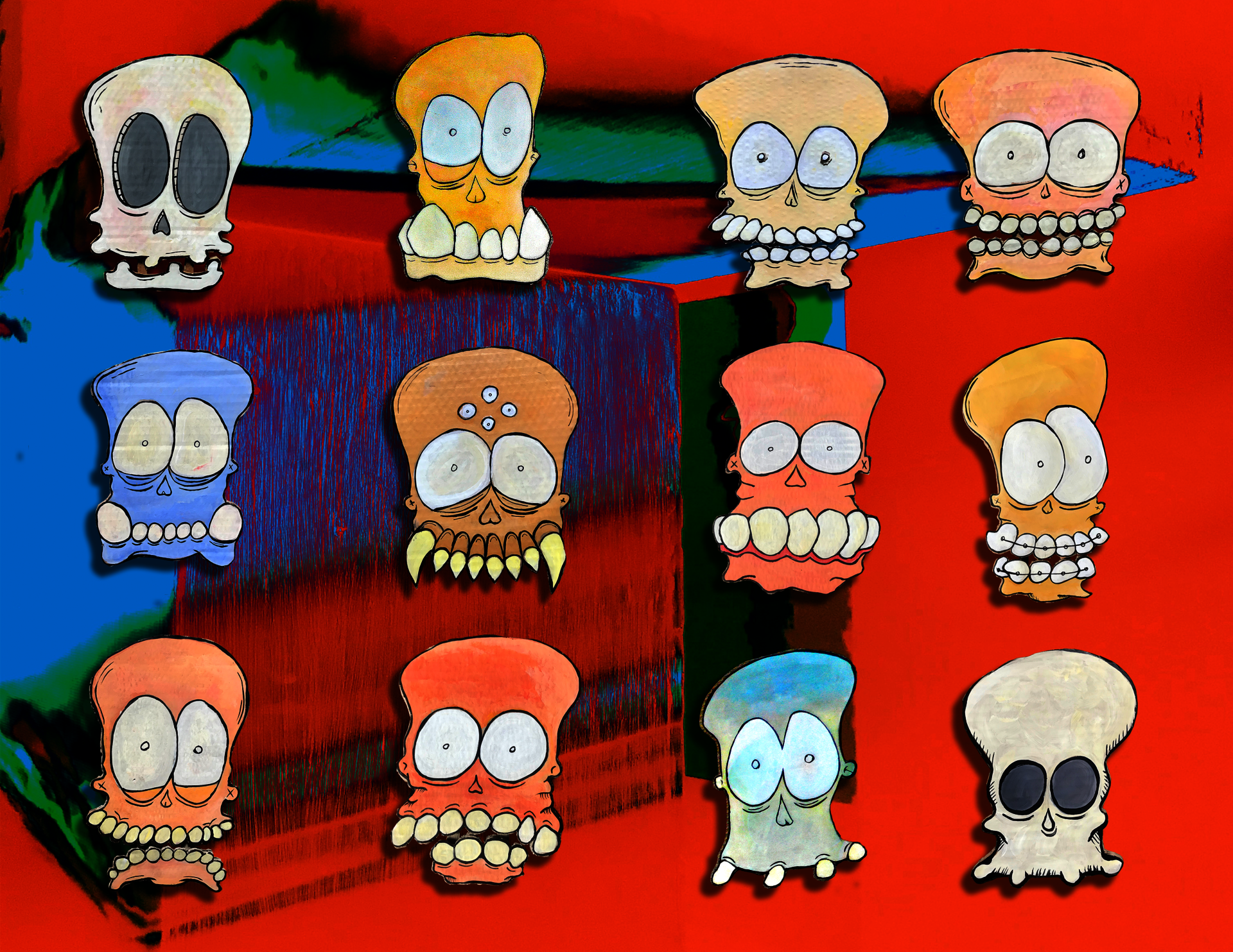 Collage of illustrated Knobbhead characters