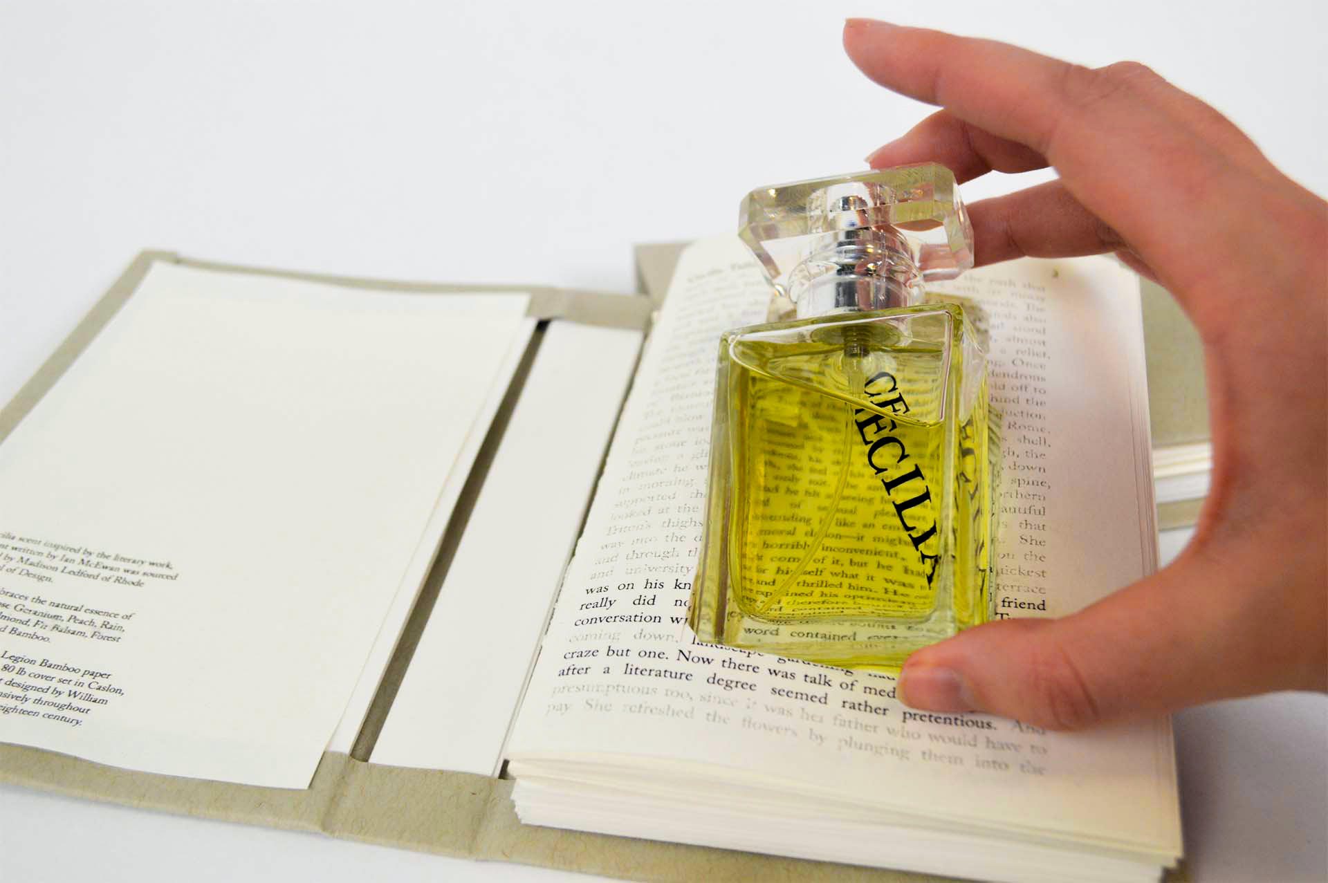 "Package design for handcrafted perfume with scents made from essential oils, embodying the spirit of the main characters from Ian McEwan's ""Atonement"" novel"