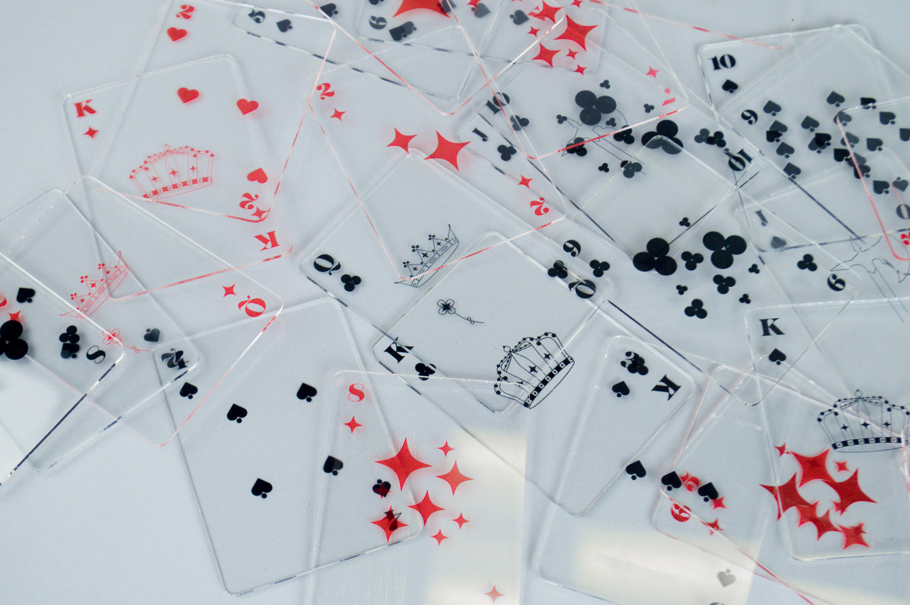 52 illustrative playing cards, made to always win...or lose