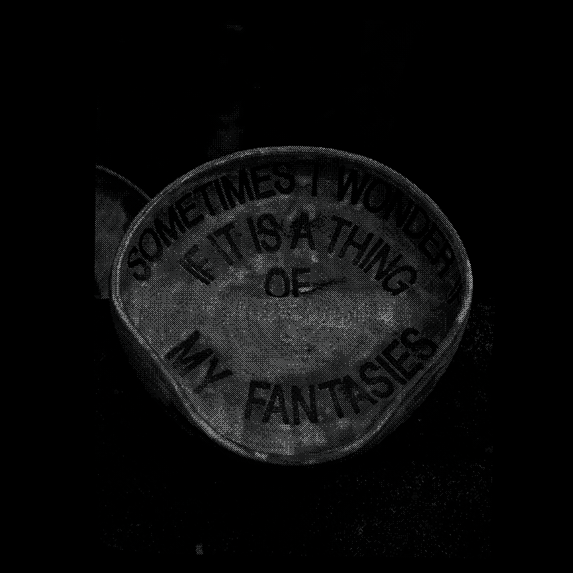 Black and white photograph of a ceramic vessel with the text 'SOMETIMES I WONDER IF IT IS A THING OF MY FANTASIES' printed in black