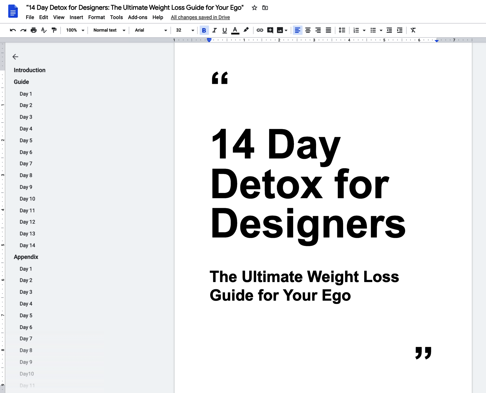 A Google Doc project entitled '14 Day Detox for Designers: The Ultimate Weight Loss Guide for Your Ego'