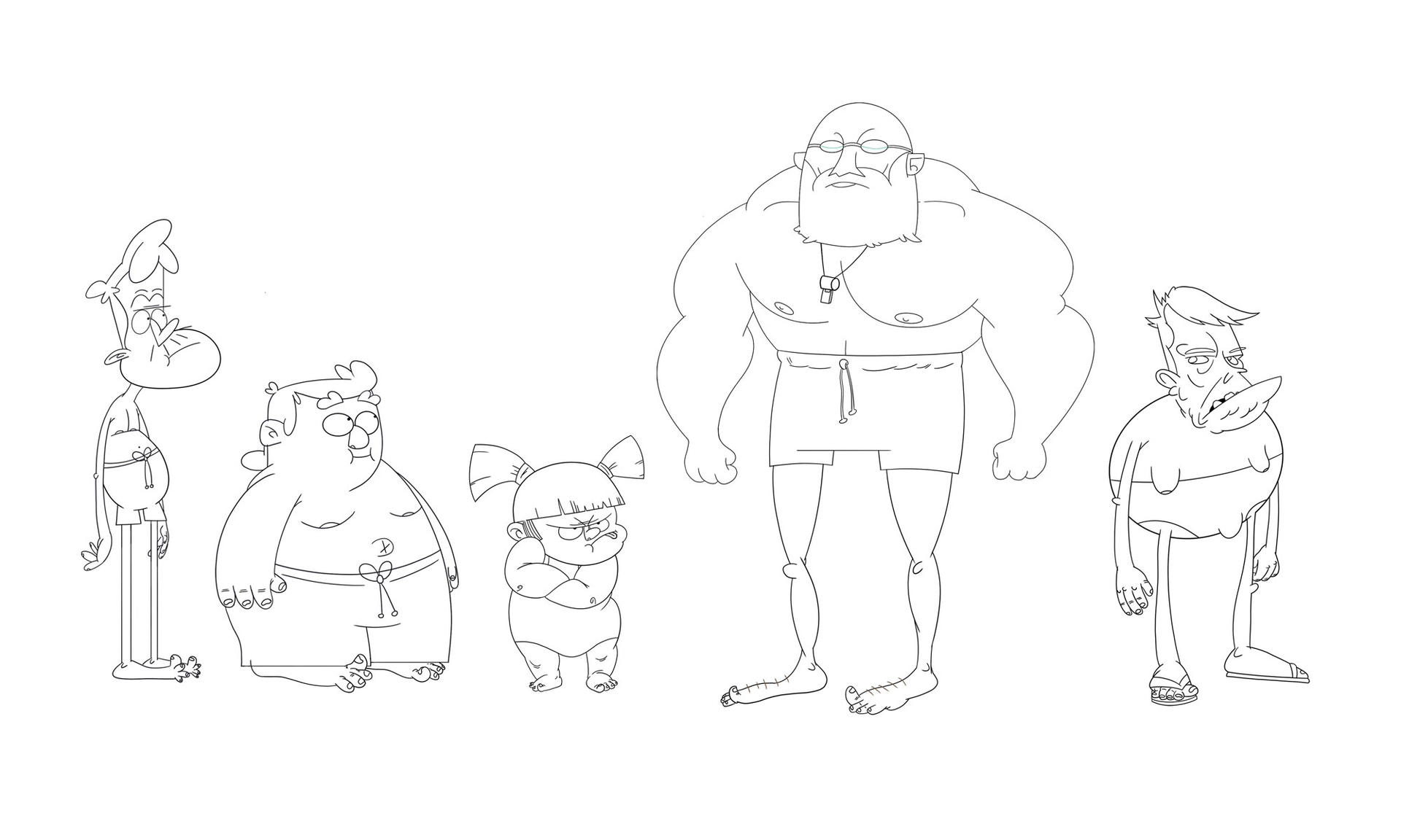 lineup of 5 original character designs