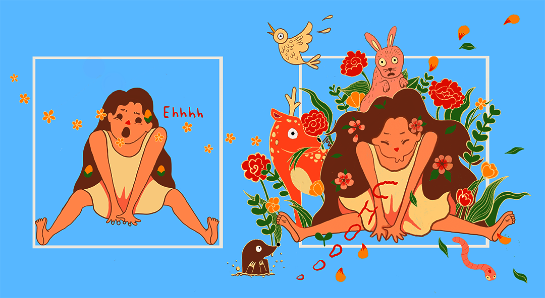 spring-themed illustrations of a girl