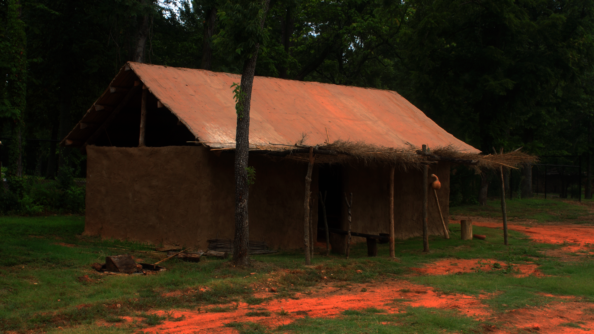 This is an example of a Late-Historic Indian Cherokee wattle and daub Summer House, built at a museum in Oklahoma.