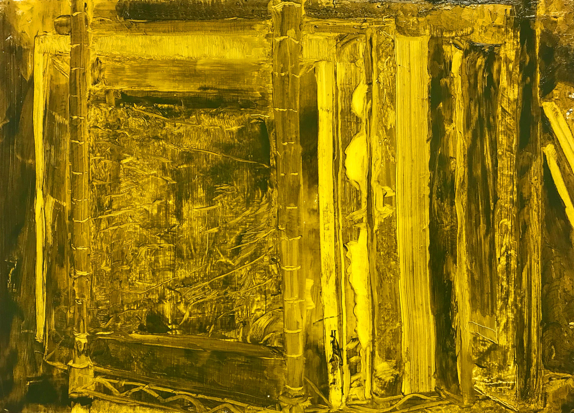 yellow-green monochromatic painting of paintings on a shelf