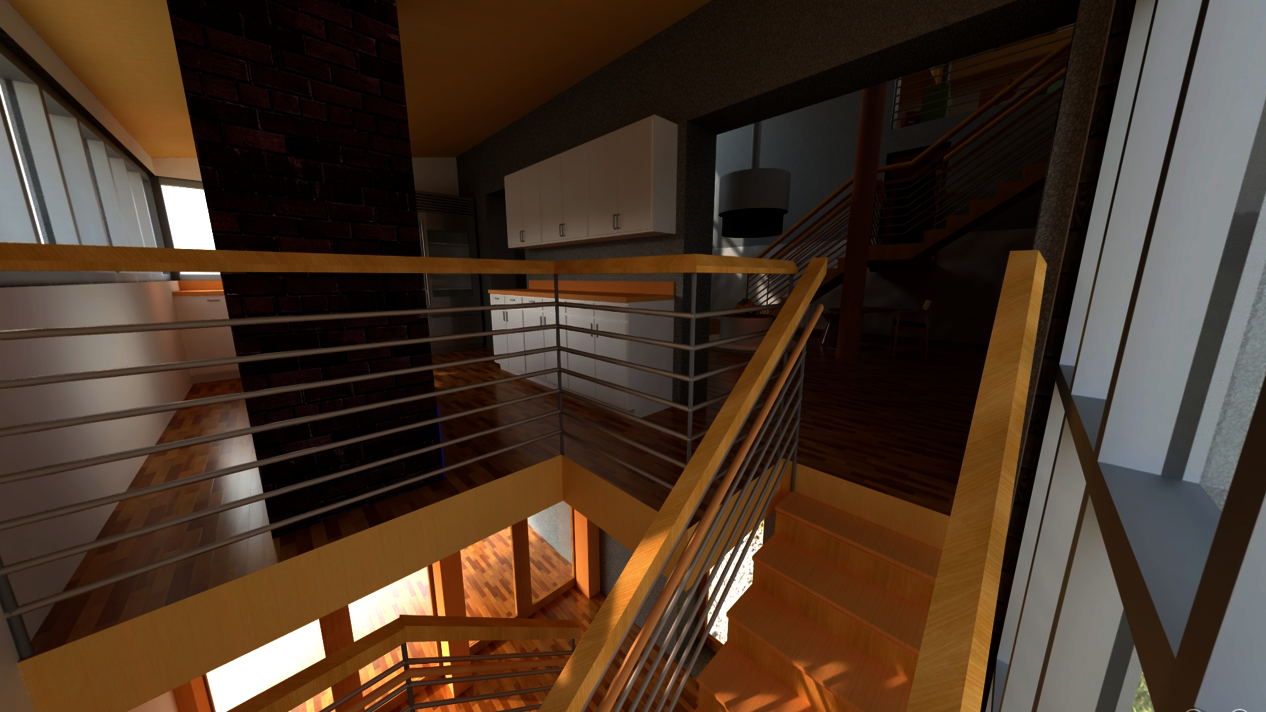 Perspective rendering near the top of the entry stair, by the kitchen