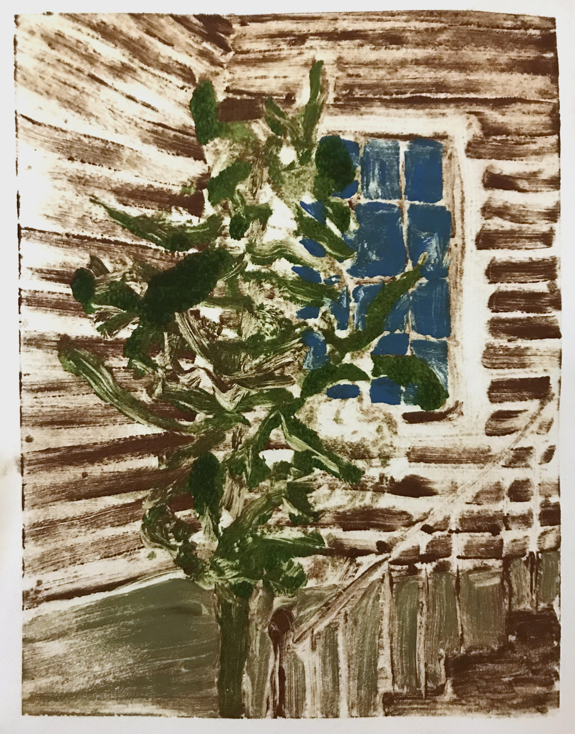 small print of a backyard with a tree, a window, and porch stairs