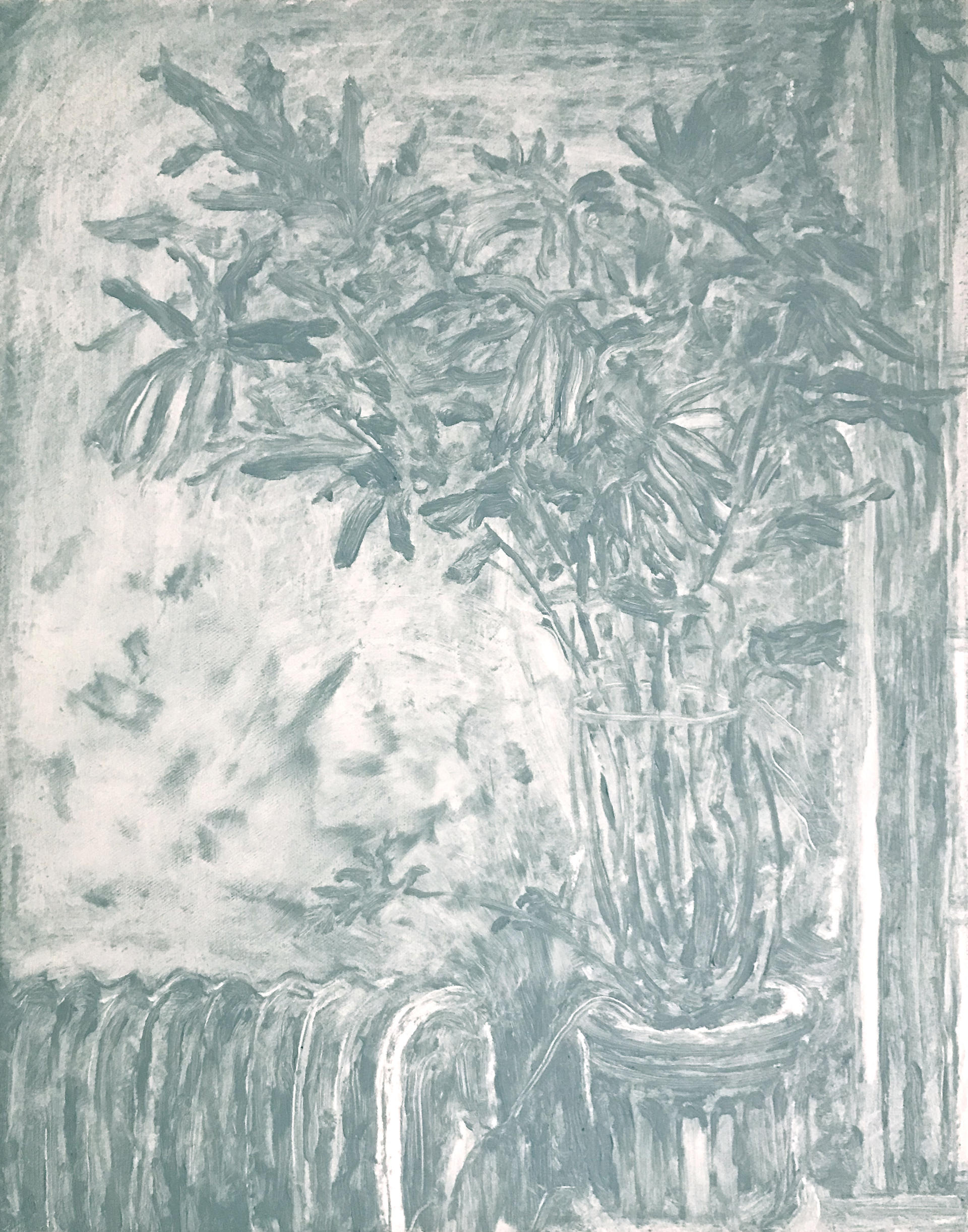 a monochromatic painting of a philodendron plant