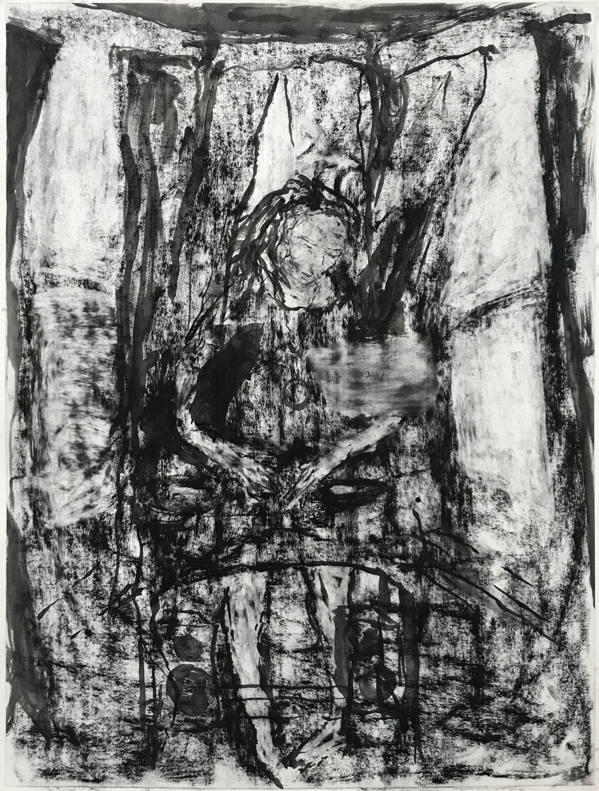 a large charcoal drawing a of a person in a dress DJing in a living room
