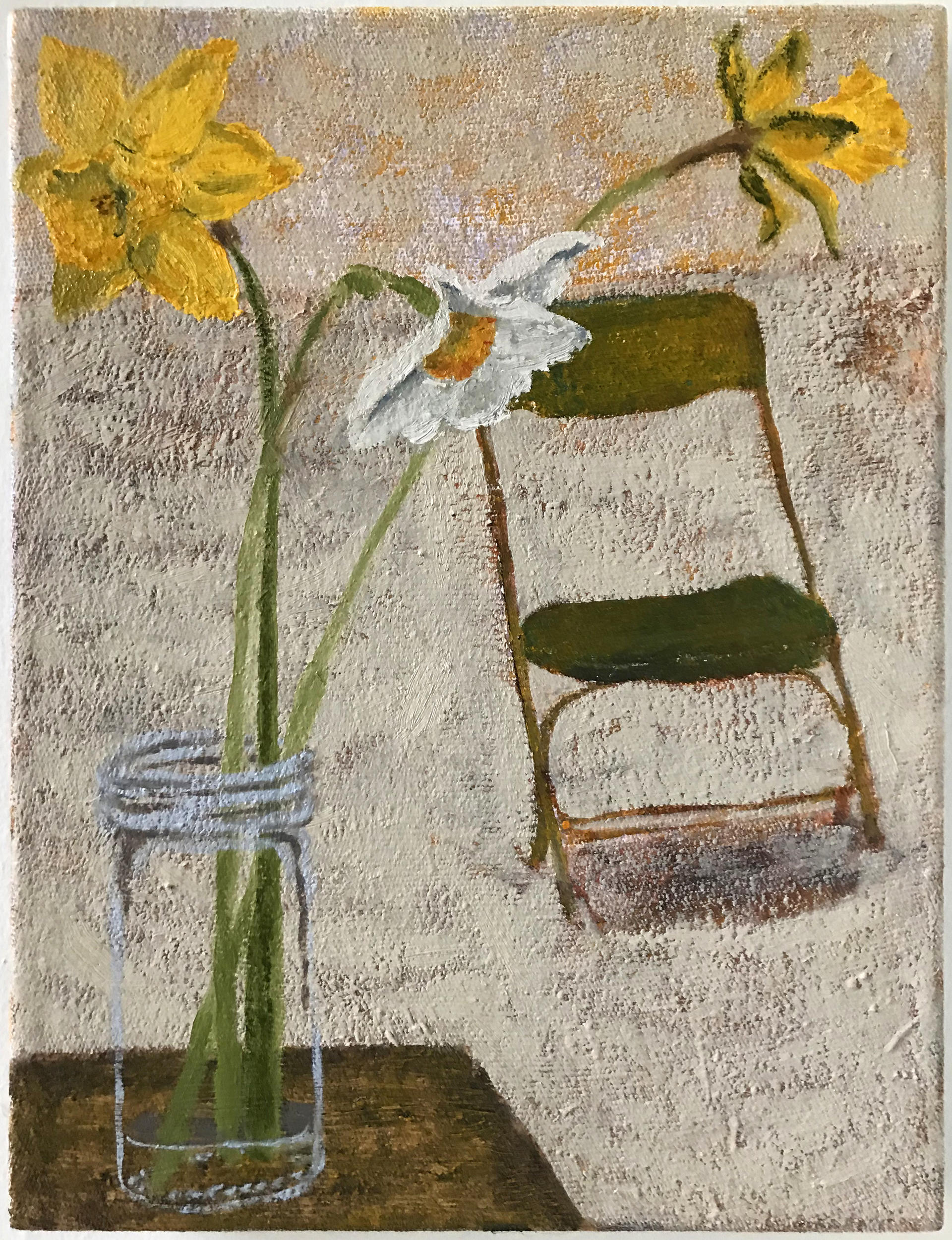 painting of three flowers in a jar and a folding chair