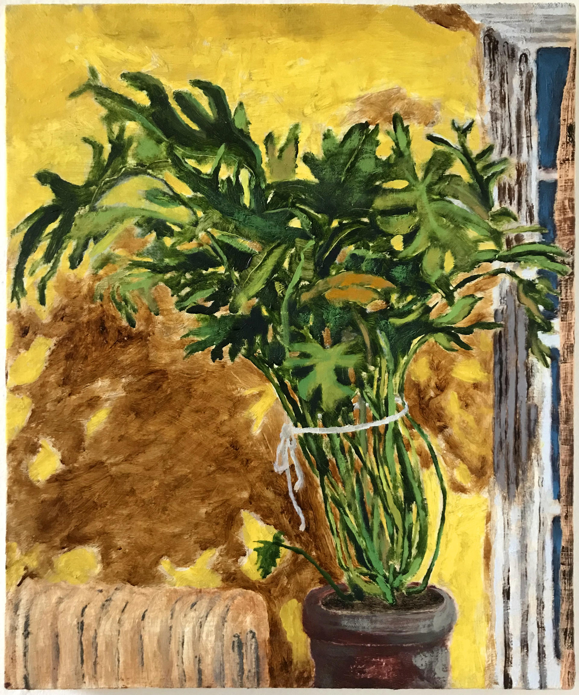 painting of a large green philodendron with a yellow background