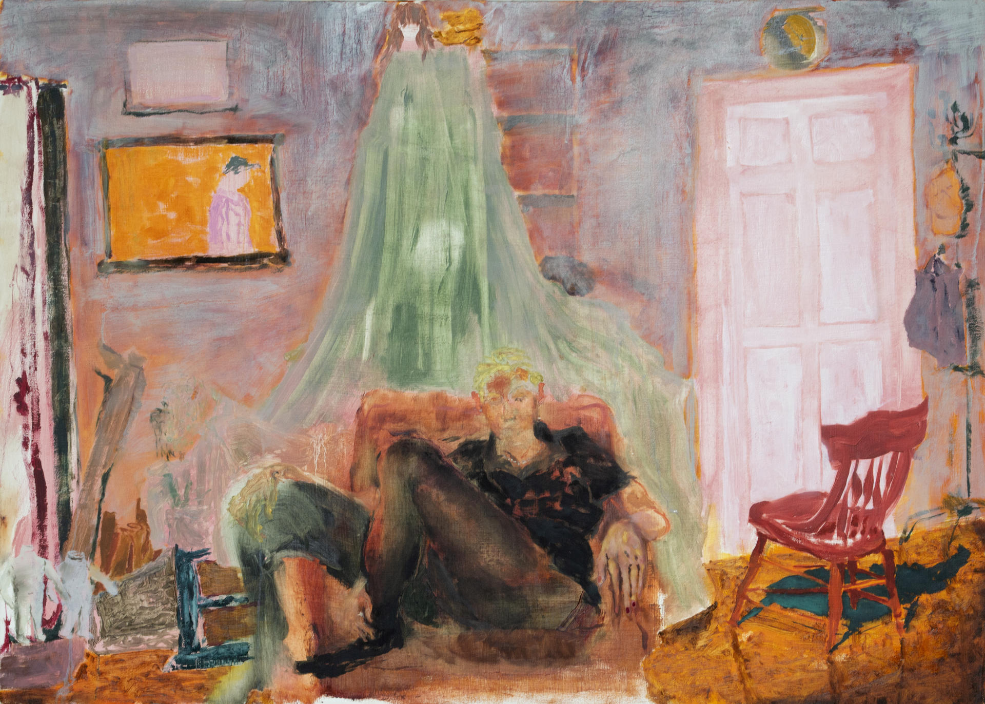 a person seated in a large living room, drenched in light