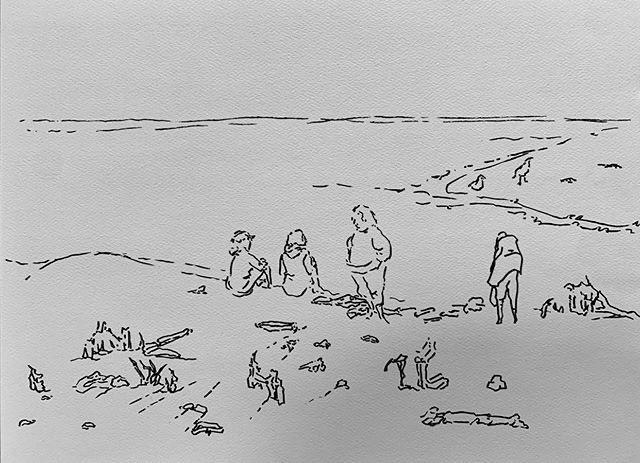 Ink line drawing of people at a seashore. Some are sitting, some standing. One looks down at the sand for seashells. Two sit looking out at the ocean.